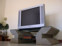 design glass and stone TV cabinet METEORE madastone