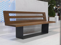 design public bench in wood and metal (with backrest) STRETCH LAB23