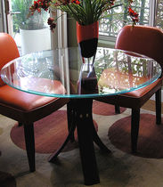 design table in glass and solid wood (FSC-certified) SOFIA LauraBirnsDesign Eco-Furnishings, LLC