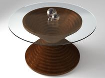 design table in glass and solid wood (FSC-certified) HOURS OF GLASS SIDD