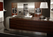 design wood veneer kitchen (with curved island) DODENHOF GMBH & CO. KG BLANCO STEELART