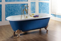 enameled cast iron bath-tub on legs VINTAGE  BLEU PROVENCE