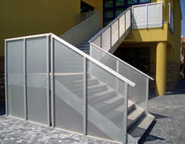exterior quarter turn staircase for commercial buildings (metal frame and steps) S.CLEMENTE SCHOOL-RIMINI ALUSCALAE