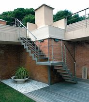 exterior quarter turn staircase with a lateral stringer (metal frame and steps) PRIVATE VILLA ESSEMME