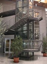 exterior quarter turn staircase for commercial buildings (metal frame and steps)  essegi scale