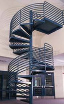 exterior spiral staircase for commercial buildings (metal frame and steps) 96 S STAIRWAYS inc