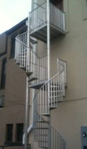 "exterior spiral staircase (metal frame and steps) 48"" FAA STAIRWAYS inc"
