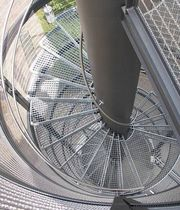 exterior spiral staircase for commercial buildings (metal frame and steps)  Nautilus