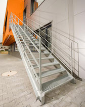 exterior straight staircase for commercial buildings  Kevala Stairs Limited