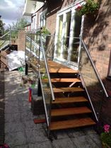 exterior straight staircase (stainless steel frame and wood steps)  New Forest Metal Work