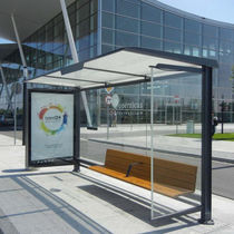 glass and metal bus shelter PENSILIS 1722 by Antonio Citterio + Toan Nguyen METALCO