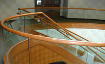 glass and wood railing  Couturier Iron Craft