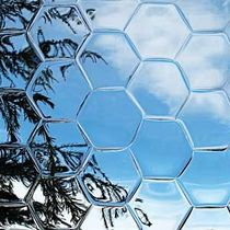 glass decorative wall panel CONVEX HONEYCOMB Nathan Allan Glass Studios Inc