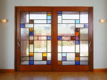 glazed sliding double door  LauraBirnsDesign Eco-Furnishings, LLC