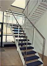 half-turn staircase with a lateral stringer  Crescent Stairs