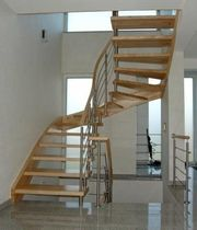 half-turn staircase with a lateral stringer (metal frame and wooden steps) WBT 304 Schmidt Escaliers