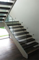 half-turn staircase with a lateral stringer (metal frame and wooden steps) NORTH LONDON Flight Design