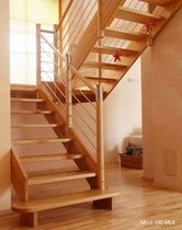 half-turn staircase with a lateral stringer (wooden frame and steps) MOD. 400 LL Interbau