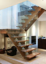half-turn staircase with a lateral stringer (wooden frame and steps) NOTTING HILL SJ 615 SPIRAL Stairs