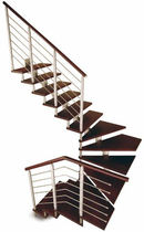 half-turn staircase with a central stringer (metal frame and wood steps) BUCANEVE D New Living srl
