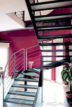 half-turn staircase with a lateral stringer (metal frame and glass steps) ELITE LINE GLAS Alfa Scale
