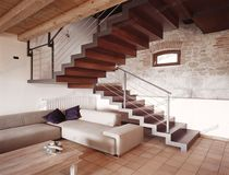 half-turn staircase with a lateral stringer (metal frame and wooden steps) ELITE STRIKE FULL Alfa Scale