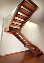 half-turn staircase with a lateral stringer (wooden frame and steps)  Marretti