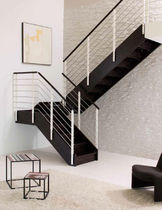 half-turn staircase with a lateral stringer (wooden frame and steps) STYLE  novalinea spa