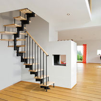 half-turn staircase with modular central stringers (metal frame and wood steps) FAST Grana Enzo & C.Snc