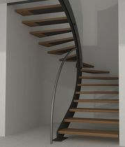 half-turn wooden floating staircase MODEL 200 Interbau