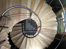 helicoidal staircase with central stringer (metal frame and wooden steps) VBKF AMM Dizains