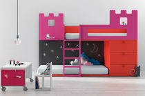 kids bunk bed with storage cabinets (girls: castle) BABY 08 BM 2000