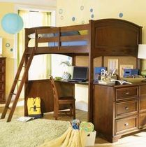 kids loft bed with desk (unisex) DEER RUN : 625-984R LEA INDUSTRIES