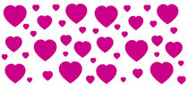 kids wall sticker (girls) PINK HEARTS FunToSee