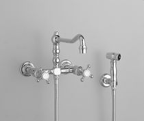 kitchen double handle mixer tap with shower head Thétis Croisillons 2 trous mural avec douchette MARGOT