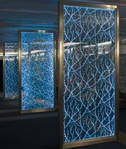 laser engraved patterned float glass panel by Christopher Pearson Vitrics