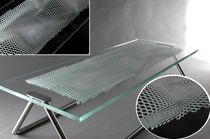 laser engraved patterned float glass panel (for tables, counter-top) by Arik Levy  Vitrics