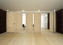 mobile acoustic wooden partition ROLLING WALL - BLIND MONOCARRELLO Arcadia