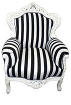 new baroque design armchair KING WHITE / BLACK STRIPES Casa Padrino / Demotex GmbH