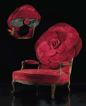 new baroque design armchair THE BIG RED ROSE by Carla Tolomeo MIRABILI Arte d'Abitare
