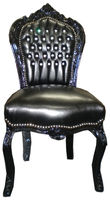 new baroque design chair BLACK LEATHER LOOK  Casa Padrino / Demotex GmbH