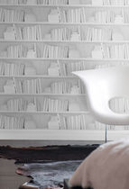 pattern wallpaper WHITE BOOKSHELF by Young & Battaglia Studiomold