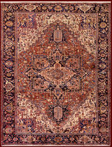 persian geometric patterned rug in wool (Heriz, handmade) OLD HERIZ bersanetti giovanni