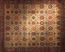 persian motif rug in wool (handmade) ROSETTES AND DIAMONDS  Torana Carpets