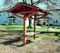 picnic table for public spaces with shelter 9230 Kidstuff Playsystems