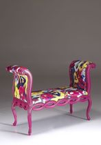 pop art design upholstered bench by Francesco Cuomo MIRABILI Arte d'Abitare