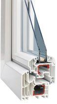 PVC double glazed casement window PREMIUM HX80 HAAS HOCO ITALIA