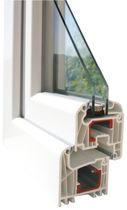 PVC double glazed casement window CONTURA H 150 HAAS HOCO ITALIA