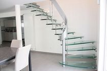 quarter-turn floating staircase (metal frame and glass steps) CLASSICA Miroiterie RIGHETTI