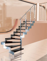 quarter-turn saddle staircase with a lateral stringer (metal frame and wood steps) HIDRA LEGNO Ci. Erre Scale